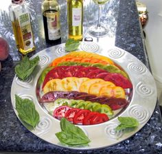 A gorgeous presentation of heirloom tomatoes.  Tomatoes are one of my ultimate go-to foods. So versatile. So delicious. So beautiful.