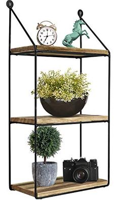 Office Kitchen Living Room Bathroom Greenco Geometric 3 Tier Mounted Floating Metal Wire and Rustic Wood Wall Storage Shelves for Bedroom Home Decor