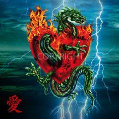 """Dragon Passion of Love.  Unten links im Bild - chinesisches Zeichen für """"Liebe"""" in rot.    Ein beeindruckendes Digital Art Kunstwerk und garantiert ei"""