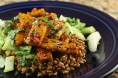 Sweet heat tempeh.  Don't be scared of tempeh.  This texture is burger-like, and this recipe makes it so tasty.