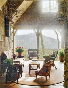 Ode to Southern Accents Outdoor Spaces, Outdoor Living, Big Front Porches, Country Porches, Pretty Landscapes, Southern Accents, Prim Decor, Mountain Living, Wicker Furniture