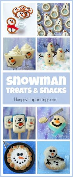 This winter have fun making some cute Snowman Treats and Snacks. Snowman cupcakes, chocolates, cheesecake, and pretzels will make wonderful Christmas treats. See all the recipes at HungryHappenings.com.