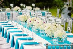 White Linen Table Teal Blie Runner White Hydrangea Rose  Orchid Centerpiece Outdoor Reception Rehersal Setting Candle