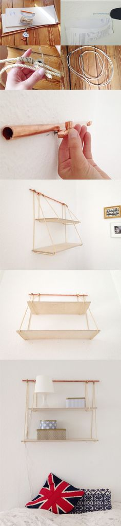Estantería colgante DIY / Vía https://woodenquarter.wordpress.com/