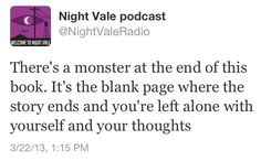 This clever (and somewhat funny, but also disturbingly insightful) tweet brought to you by Night Vale Community Radio.