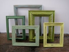 Beach Picture Frames Empty Open Set of 5 Yellow by SeaLoveAndSalt, $45.00