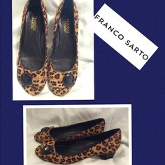 Franco Sarto Leopard Print Heels These fabulous leather upper with pony hair heels are sure to turn heads!! Like New!! Franco Sarto Shoes Heels