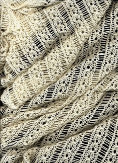 coin lace scarf/stole is knitted diagonally with a combination of coin lace and long-ladder patterns - by Shui Kuen Kozinski