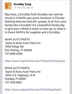 #Scrubby #madeinusa #florida #Handcleaner #dirt #grease  #Napa #auto #citrus #orange #