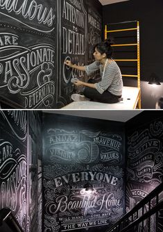 Chalk artist at work. Tanamachi ANDAZ via the red thread
