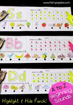 Fun beginning sound activities, kids highlight the letters and punch the pictures beginning with each letter sound - Fairy Poppins