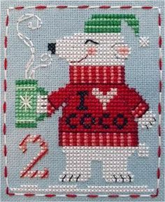 Free Pattern, Looking for your next project? You're going to love BBP Advent Animal Peter Polar Bear by designer Brooke Nolan. Cross Stitch Baby, Simple Cross Stitch, Cross Stitch Samplers, Cross Stitch Animals, Modern Cross Stitch, Cross Stitch Charts, Cross Stitch Designs, Cross Stitching, Cross Stitch Embroidery