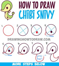 Learn How to Draw Kawaii Chibi Snivy from Pokemon - Simple Steps Drawing Lesson