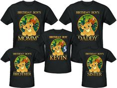 Lion King Birthday Shirt Personalized Name and Age Customized Lion King Family Shirts Lion King Theme, Lion King Party, Lion King 1, Lion King Shirt, Lion King Birthday, 5th Birthday Boys, Birthday Shirts, Baby Shower Shirts, Lion King Baby Shower