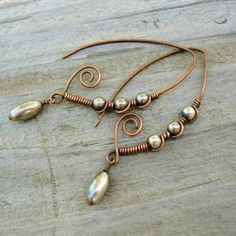 Antiqued Copper with Pearls and Seed Beads Marquise Shaped Wire Wrapped Hoops Antiqued Copper & Silver Marquise Shaped Wrapped Hoops Copper Wire Jewelry, Wire Jewelry Designs, Jewelry Art, Beaded Jewelry, Copper Bracelet, Wire Wrapped Earrings, Wire Earrings, Earrings Handmade, Handmade Jewelry