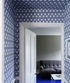 roomenvy - modern hallway wallpaper Hick's Hexagon blue white wallpaper by Cole Son