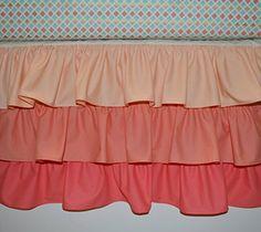 8[ ]  Handmade Nursery Waterfall Crib Skirt - Ruffled Crib Skirt Coral - Custom…