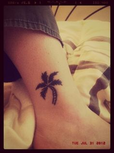 Palm Tree Tattoo on my right ankle.