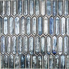 Komorebi Jet Stream Glass Tile Blue Glass Tile, Glass Mosaic Tiles, Wall Tiles, Blue Tiles, Mediterranean Tile, Splashback Tiles, Glass Installation, Hexagon Pattern, Glass Material