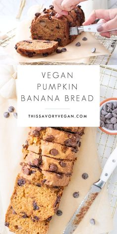 Banana Pumkin Bread, Vegan Pumpkin Bread, Vegan Banana Bread, Best Banana Bread, Vegan Sweets, Vegan Snacks, Vegan Desserts, Vegan Food, Vegan Baking Recipes
