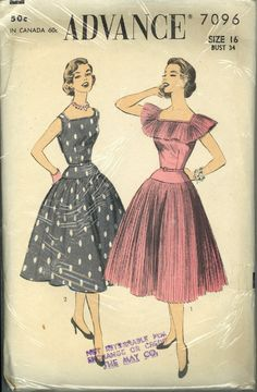 Advance 7096 ~ Fitted bodice, dropped waist, and frilled, pleated collar make the 1950s pattern absolutely smashing!