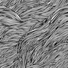 Vector of 'Vector seamless black and white abstract hand-drawn pattern with waves hair'