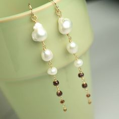 Long Dangle Earrings Baroque Pearl Freshwater Pearl Red Garnet Gold Fill. $158.00, via Etsy.
