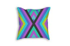 Colorful Pillow Case  18 x 18  Bright by JourneysEndPillows