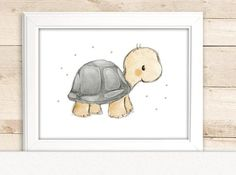 "Children's image ""Turtle"" for the nursery, children's pictures forest animals, children's room wall decoration Nursery Prints, Nursery Art, Nursery Paintings, Cute Drawings, Animal Drawings, Poster Alphabet, Turtle Images, Nursery Pictures, Baby Zimmer"