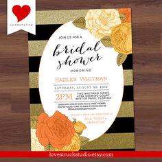 Glitter Rose Bridal Shower Invitation  Black by LoveStruckStudio