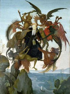 The Torment of St Anthony (1487-8), thought to be Michelangelo's first painting after the engraving 'St Anthony Tormented by Demons' by Martin Schongauer