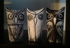 I went ahead and tried to make those owls you see on Pinterest using left over toilet paper cardboard rolls.  This is how they came out.  Here is a link to a short video of me painting one of them.  http://youtu.be/TZ2bq3Wv4pg