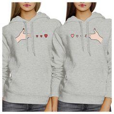 Gun Hands With Hearts BFF Matching Grey Hoodies
