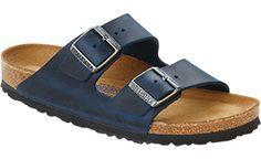 Shop Arizona Soft Footbed Insignia Blue Oiled Leather  Sandals