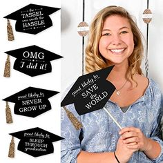 Create memorable graduation photos with this fun senior superlative photo prop kit. Each Funny Graduation Caps prop kit comes with printed silver tassel accents and 20 funny sayings to inspire perfectly shareable pics. Whether you are taking photos for th Funny Graduation Caps, College Graduation Parties, Kindergarten Graduation, Graduation Celebration, Graduation Decorations, Graduation Party Decor, Graduation Photos, Grad Parties, Graduation Ideas