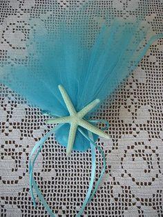 Aqua blue tulle christening/baptism favor by FavorsAndMorebyFiona, $2.19
