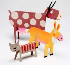 Make some standing animals with sturdy paper and paint.