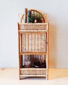 Fabulous Bamboo Wicker Bathroom Shelf, Vintage Natural Wicker, Three Tier  Shelf With Door, Wall Hanging Shelf Or Sitting Shelf, Boho Shelf