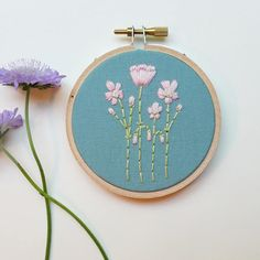 Floral Embroidery. Botanical Art. Hand Embroidered. Pink. 3