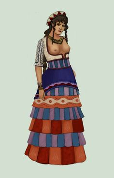 On an island Crete, fashions were much different than those of the rest of the world.  Late Minoan clothing consisted of a tight blouse and bellshaped skirt. Women wore early forms of corsets and crinolines. Minoan Greece .:3:. by Tadarida.deviantart.com on @DeviantArt