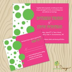Custom Wedding Invitation - pink green dot wedding invitations. $4.00, via Etsy.