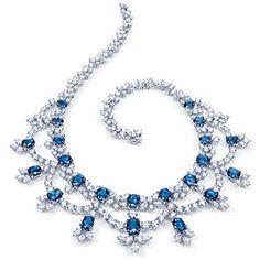 Harry Winston Diamond and Sapphire Necklace Sapphire Necklace, Sapphire Jewelry, Tanzanite Jewelry, Gems Jewelry, Fine Jewelry, Jewelry Necklaces, Bullet Jewelry, Statement Necklaces, Gothic Jewelry