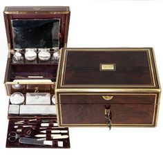 Antique 1880s French Vanity Traveler's Chest, Rosewood Box, Sterling Silver Jars in Antiques, Decorative Arts, Other Antique Decorative Arts | eBay