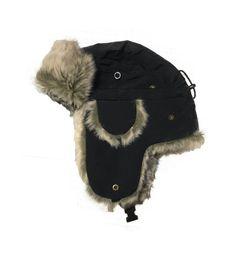 ebf33ec36e0 WOOLRICH  105 MEN Aviator Trapper FAUX HAT Nylon SIZE M Black WINTER SKI   fashion