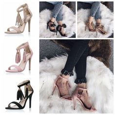 65972547d7e47c Summer New Tassel Female Sandals Sexy Flock Open Toe Cover Heels Women Shoes  Casual Office Ladies