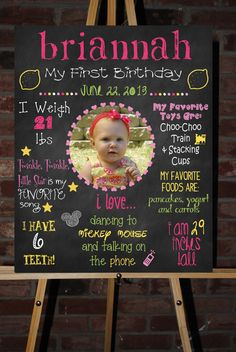 Custom Printable First Birthday Poster by ChalkingItUpBoards, $30.00