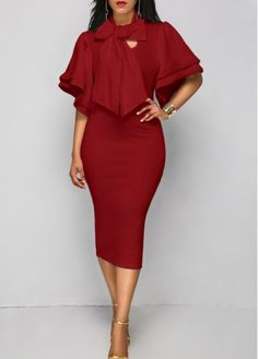 Layered Sleeve Wine Red Tie Neck Dress | Rosewe.com - USD $33.08