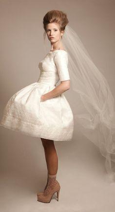 Short Wedding Dress with Dot Details