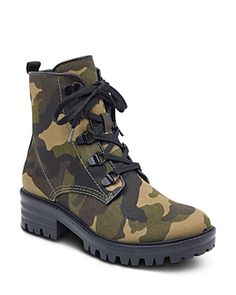KENDALL AND KYLIE KENDALL AND KYLIE WOMEN'S EPIC CAMO PRINT COMBAT BOOTIES. #kendallandkylie #shoes #