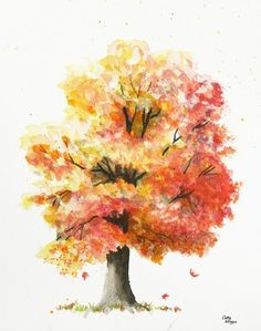 water color autumn tree